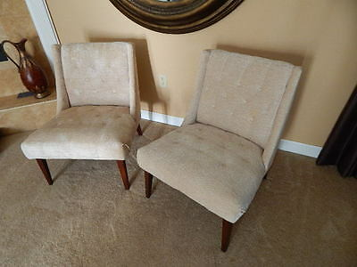 2 Mid Century Modern Kroehler Chairs Tuffted Low Profile Club Slipper
