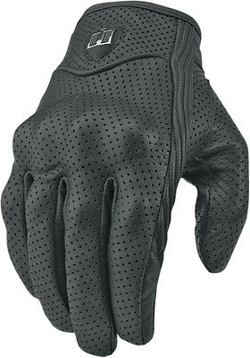ICON Pursuit Perforated Short Gauntlet Leather Motorcycle Gloves (Black) L/Large