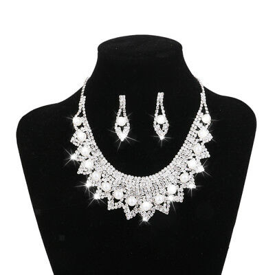 Wedding Necklace and Earring Sets Crystal Collar Chunky Bib Jewelry Set