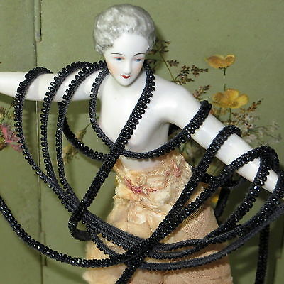 1y Tiny JET BLACK GLASS SEED BEAD TRIM Victorian French Doll Dress Mignonette