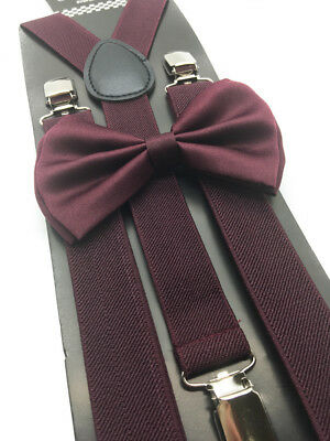 New Adult's Formal Wedding Wear Accessories Maroon Bow Tie and Suspenders