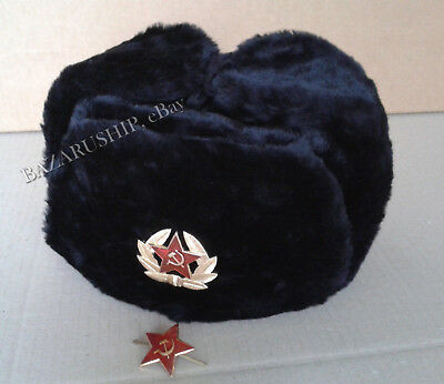 Russian Ushanka Winter Fur Hat Military Style with Soviet Army Badge