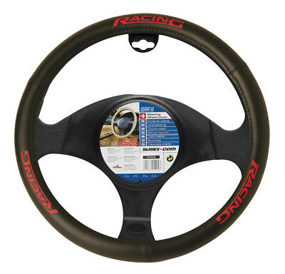 Car Steering Wheel Cover Glove Black Red Racing PVC 37-39cm Universal Easy Fit