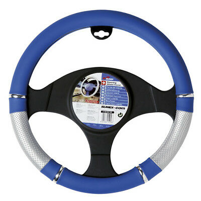 Car Steering Wheel Cover Glove Blue Silver Grey Chrome PVC 37-39cm Universal