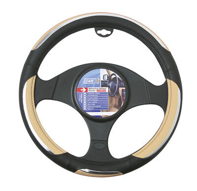 Car Steering Wheel Cover Glove Snake Beige Cream Black Chrome PVC 37-39cm