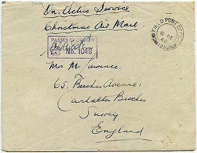 Palestine Forces Christmas Airmail 1940 Ww2 Fpo123 Sarafand