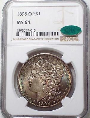 1898 O NGC MS-64 SILVER Morgan Dollar CAC STICKER Blue Green RAINBOW Red REV $1