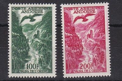 French Andorra 1955 S G 163 - 164 Values To 200F Carmine   M / H