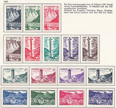French Andorra 1955  S G F144 - F162 Complete 1955 Set     M / H