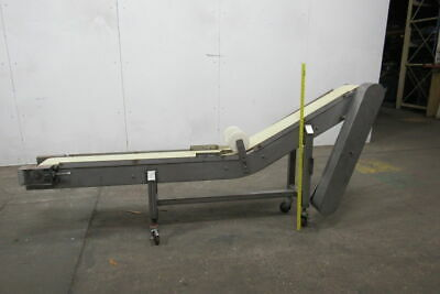 "Custom Made Stainless Steel 8"" Wide Incline Belt Conveyor Without Drive"