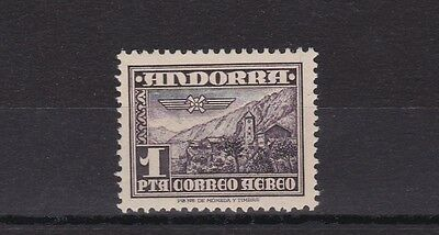 Spanish  Andorra 1951  S G 54 1P Deep Purple Brown Air M / N / H