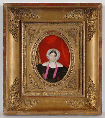 """""""Portrait of an Educated Lady"""", French Miniature on Porcelain, 1830s"""
