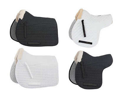 Shires Fleece Half Lined Numnah OR Saddle Cloth, white or black in full size