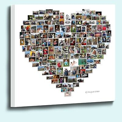 Fabulous personalised love heart shape photo collage box framed canvas print