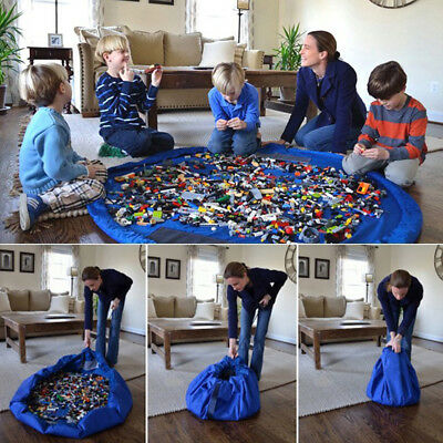 Portable Kids Toy Organizer Storage Bag and Play Mat Rug Game Box Blue 59""