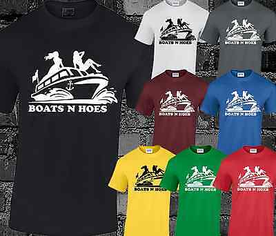 BOATS AND HOES MENS T SHIRT WILL SLOGAN STEP BROTHERS HUMOUR TOP
