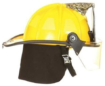 """FIRE-DEX 1910 Traditional Style Fire Helmet with 4"""" Visor, Yellow, Carved Eagle"""