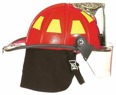 "FIRE-DEX 1910 Traditional Style Fire Helmet with 4"" Visor, Red, Carved Eagle"