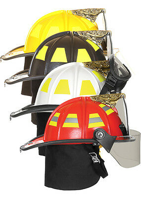 FIRE-DEX 1910 Traditional Style Fire Helmet with Flip Downs, Carved Eagle, Black