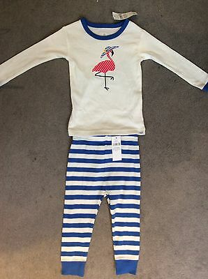 GAP LONG SLEEVE PJ'S WITH PINK SPOTTED FLAMINGO IN SUNHAT ON FRONT - 12-18m BNWT