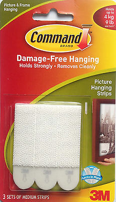 3M Command Medium Picture & Frame Hanging Strips Holds up to 4kg/9lb Free P&P