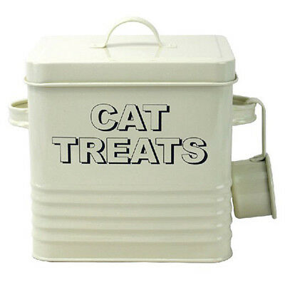 Cream Enamel Cat Treats Storage Tin Box Bin - Pouches Treats Dry Food Biscuits