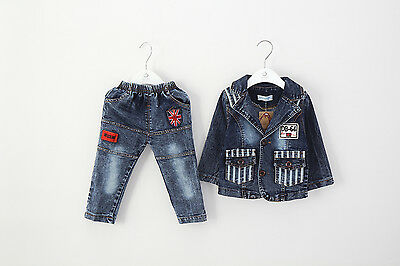 Toddler Boy 2pc Outfit Jacket+Jean casual coat Gift Party Size1-6 years