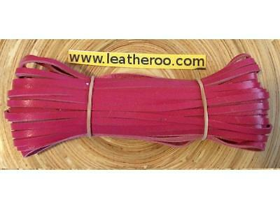 "Kangaroo Lace HOT PINK Kangaroo Leather Lacing (3.0mm 1/8"" Width) 20 meter hank"