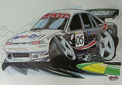 Cartoon Peter Brock Holden Mobil No 05 A3 Poster Print Picture Image