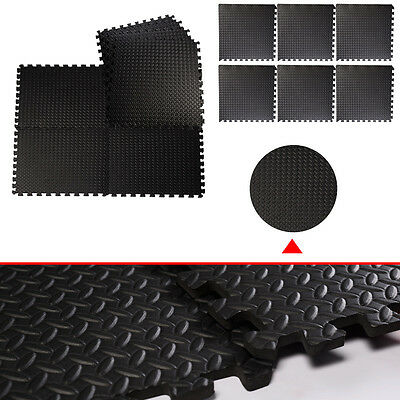 48 Sq Ft Interlocking Eva Foam Mats Tiles Gym Play Garage Floor Mat 1.2Cm Thick