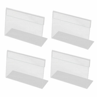 Desktop Countertop Plastic Business Name Card Holder Display Stand Clear 4pcs