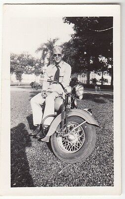 [J58039] Circa 1940's PHOTOGRAPH U.S. SERVICE MEMBER ON HIS MOTORCYCLE