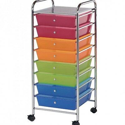 Rolling Storage Cart 8 Drawers Organizer Craft Multicolor Office Shelf Wheeled
