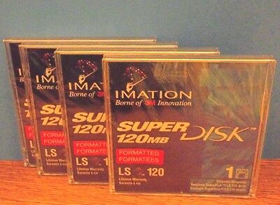 4 Imation 11314 Ls-120 Superdisk Formatted 120 Mb Disk Factory Sealed New