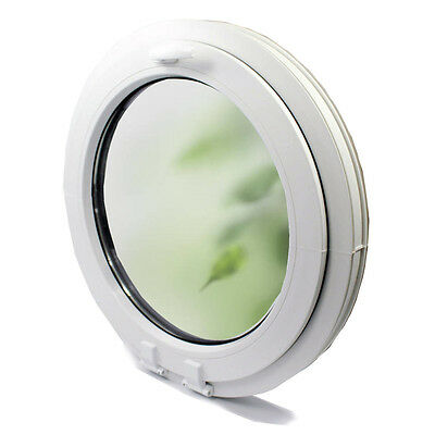 uPVC -Window plastic Round circular FROSTED glass PVC Double VEKA- handle on top