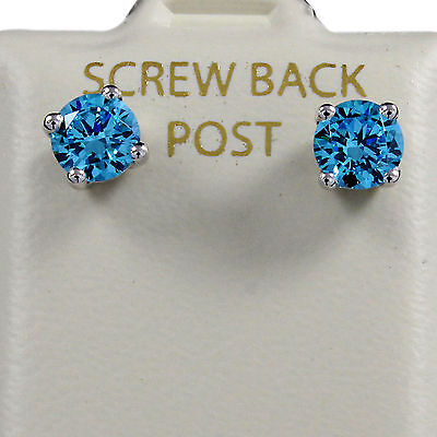 1.00 ct Lab Blue Diamond Stud Earring in Solid 14K White Gold