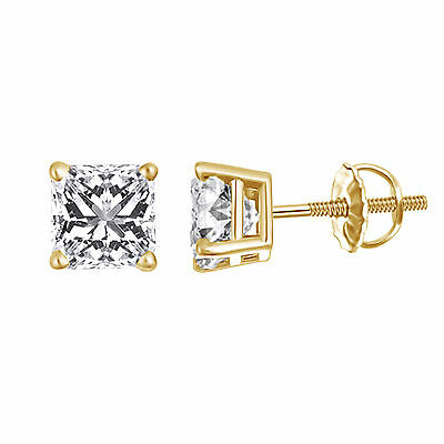 2.0 Carat Princess Cut Solitaire Stud Earrings Solid 14k Yellow Gold Screw Back