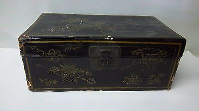 1800s Antique Chinese Leather Covered  Box w/ Certificate of Identity (SB #1)