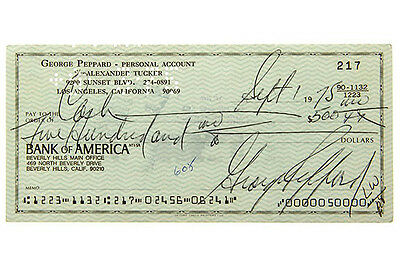 George Peppard Bank of America Check Celeb Collecting überprüfen Controllare