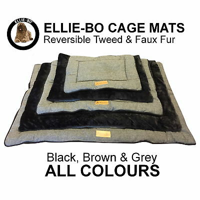 Ellie-Bo Reversible Tweed & Faux Fur Mat Beds For Dog Cages/Crates In All Sizes