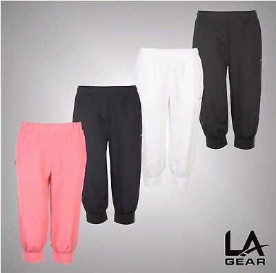 Ladies LA Gear Workout Gym Mesh Lined Three Quarter Woven Track Pants Size 8-20