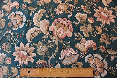 "Lovely Antique French Jacobean Print Fabric Panel c1870~2ydsX30""W~HomeDec"