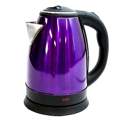 Purple Stainless Steel Premium 1.8L Electric Kettle Indicator Light Cordless 360