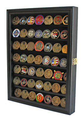 LOCKABLE Challenge Coin Display Case / Casino Chip Shadow Box Cabinet CN56-BL