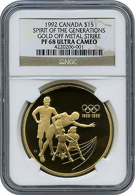 Proof 1992 Canada $15 Gold Off Metal Strike (Should Be Silver) NGC PF 68