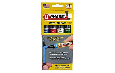U-Mark U-Phase 10718PSA Blue Red White Green Color Wire Marker Pack of 4 19912