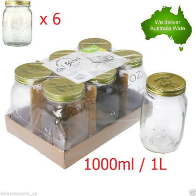 6x Glass Jam Lolly Jar Gold Top Lid 1000ml 1L Storage Wedding Candy Party Food