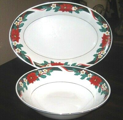 "Tienshan""Deck the Halls"" 14"" Oval Serving Platter & 9 1/8"" Round Serving Dish"