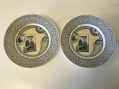 Antique English Old Hall Earthenware Co Ltd Pair of Excelsior Transferware Bowls