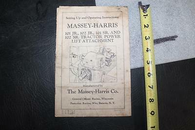 1948 Massey Harris 101 102 Jr Sr  Tractor Power Lift Attachment Operating Manual